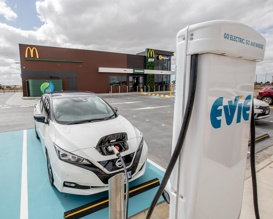 The EV can recharge while you're waiting for your Big Mac. Source: Supplied