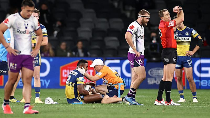 Cooper Johns, pictured here being put on report for a 'crusher tackle' on Maika Sivo.