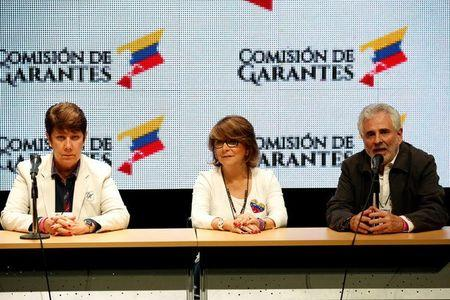 Cecilia Garcia Arocha (L), rector of the Central University of Venezuela (UCV), Jessy Divo (C), rector of the University of Carabobo and Benjamin Ruben Scharifker, rector of the Metropolitan University (UNIMET), address the media after an unofficial plebiscite against President Nicolas Maduro's government and his plan to rewrite the constitution, in Caracas, Venezuela July 16, 2017.  REUTERS/Carlos Garcia Rawlins