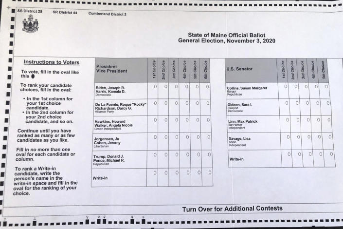 This absentee ballot for the 2020 Maine general election, photographed on Thursday, Oct. 22, 2020 in Falmouth, Maine, shows how Maine voters are allowed to rank presidential and senate candidates in order of ranked choice preference. (David Sharp/AP)