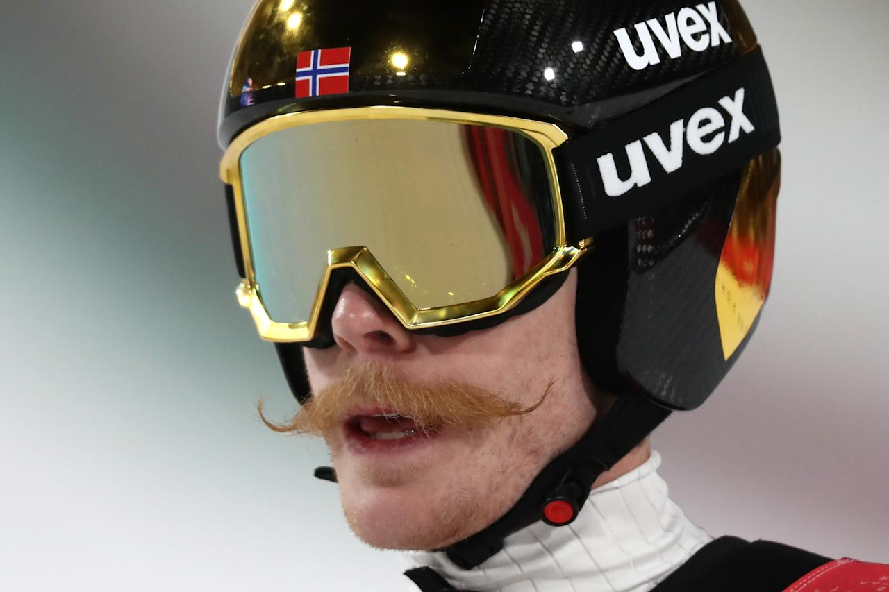 "<p>Norway's Robert Johansson is definitely setting the standard in PyeongChang when it comes to Olympic facial hair. The 27-year-old Norwegian is a gold and two-time bronze medalist at these Games. However, he may be best remembered for the meticulously curled ginger 'stache that's earned him the nickname, ""the Flying Moustache."" (Getty) </p>"
