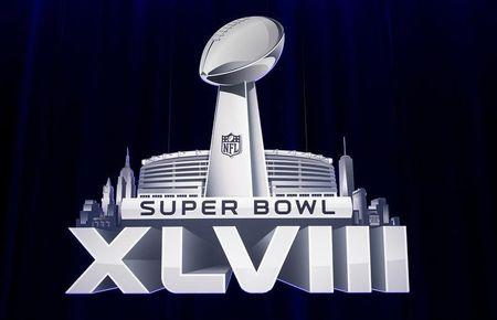 The Super Bowl XLVIII logo is pictured during a news conference ahead of the Super Bowl in New York