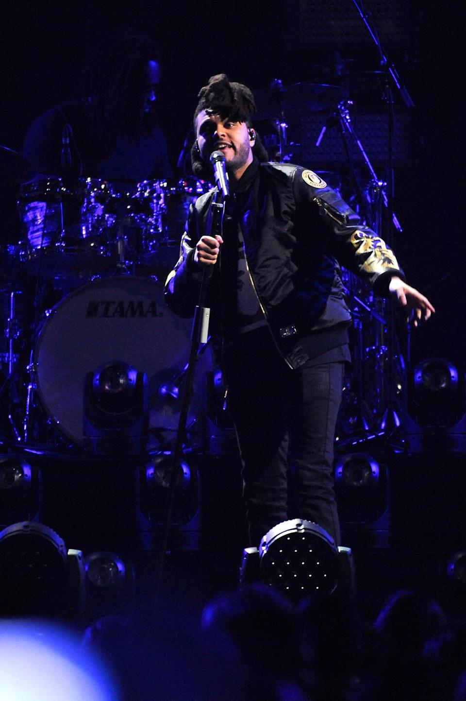 <p>The Weeknd went with a mostly black look, adding a sweet bomber jacket to spice up his ensemble.</p>