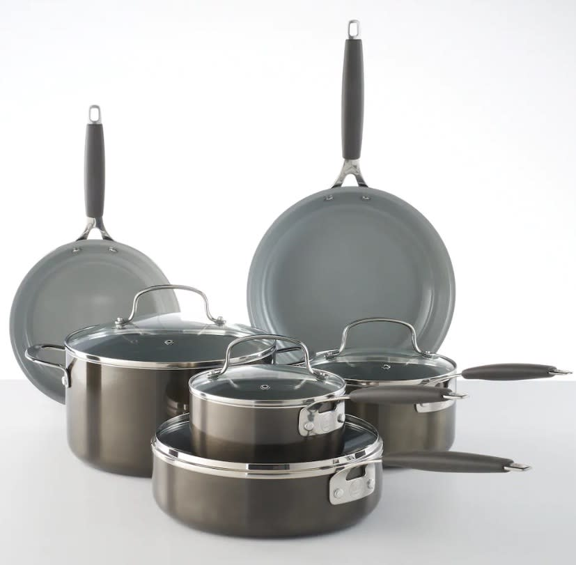 "<p>Flex your inner chef skills or upgrade your pots and pans with this sleek 10-piece set. Either way, at under $100 this cookware set is a kitchen essential for anyone.<br><strong><a href=""https://fave.co/2DwYxwx"" rel=""nofollow noopener"" target=""_blank"" data-ylk=""slk:SHOP IT"" class=""link rapid-noclick-resp"">SHOP IT</a>:</strong> $90 (was $130), <a href=""https://fave.co/2DwYxwx"" rel=""nofollow noopener"" target=""_blank"" data-ylk=""slk:kohls.com"" class=""link rapid-noclick-resp"">kohls.com</a> </p>"
