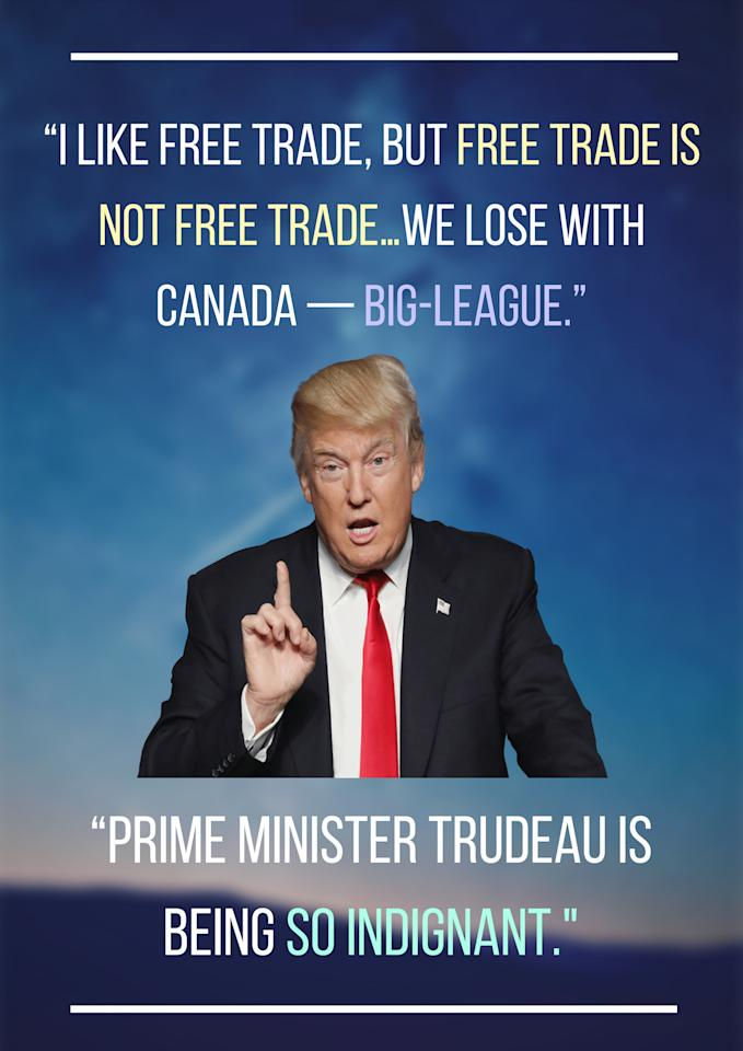 "<p>Trump tweeted this <a rel=""nofollow"" href=""https://www.cbc.ca/news/politics/trudeau-macron-g7-trade-tariffs-trump-1.4695460"">on June 7.</a> </p>"