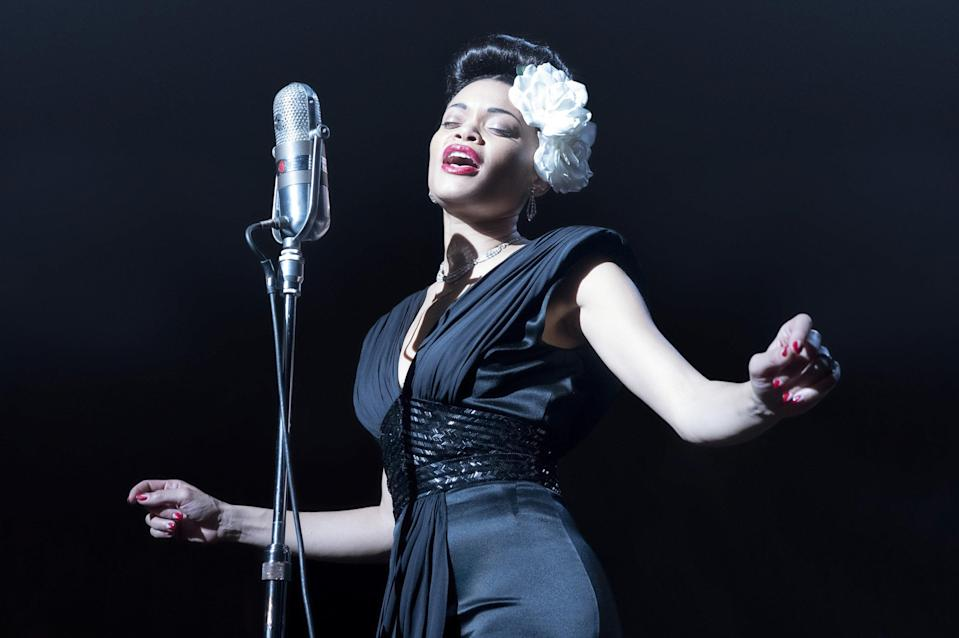 """<p><strong>Nominated for:</strong> Best Actress in a Leading Role (Andra Day)</p> <p><strong>What it's about:</strong> The true story of the drug sting operation launched on R&B singer Billie Holiday as she attempted to use her platform to call out racism.</p> <p><strong>Where to watch:</strong> <a href=""""https://cna.st/affiliate-link/6N2MTMo3jgZgSuZRmKhJPDRfZbcampwzLgJSMHc5UKocfDfYQvGrDEtXxw71ve2HxUG1bi3hyVpAwZvSwTFyawwpXZtxDBB8D4DHkRuS5VqdDuZBbg31jSbyWnXnhHtitiCSDHXxWHs2BnD83REM51WCjKCdfwPzPxhXZwb6Wddnudy?cid=60774d46db8e55bec204471f"""" rel=""""nofollow noopener"""" target=""""_blank"""" data-ylk=""""slk:Stream now on Hulu"""" class=""""link rapid-noclick-resp"""">Stream now on Hulu</a></p>"""