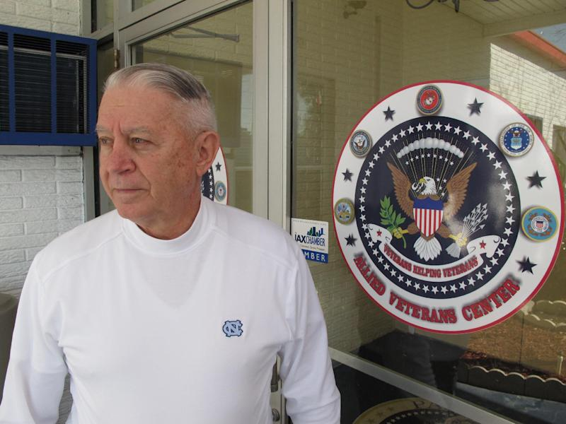 Len Loving, chief executive of the Allied Veterans Center, stands at the front door to the shelter for homeless veterans in Jacksonville, Fla., on Thursday, March 14, 2013. Loving says he may have to close the center by the end of June for lack of funding. The shelter gets almost all of its money from Allied Veterans of the World, a Florida organization that's had its top officers arrested and assets seized as part of an illegal gambling investigation. (AP Photo/Russ Bynum)
