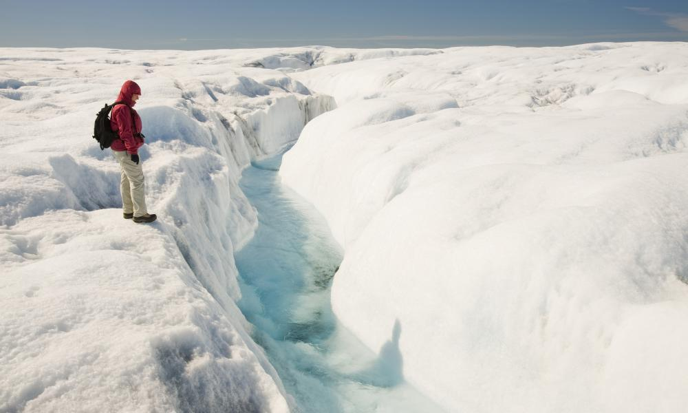 """<span class=""""element-image__caption"""">Melt water on the Greenland ice sheet near camp Victor north of Ilulissat. </span> <span class=""""element-image__credit"""">Photograph: SpecialistStoc/REX/Shutterstock</span>"""