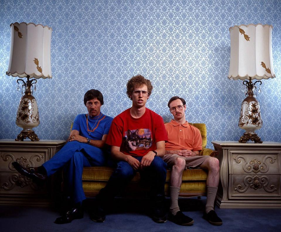 """This 2004 photo provided by Twentieth Century Fox and Paramount Pictures shows Jon Gries, as Uncle Rico, from left, Jon Heder, as Napoleon Dynamite, and Aaron Ruell, as Kip, in a scene from movie """"Napoleon Dynamite."""" (Twentieth Century Fox/Paramount Pictures via AP)"""