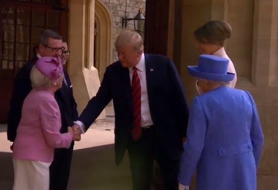 Footage of the pair meeting showed Trump lose out in a battle of the handshakes when the Countess pulled the President towards him (Sky News)