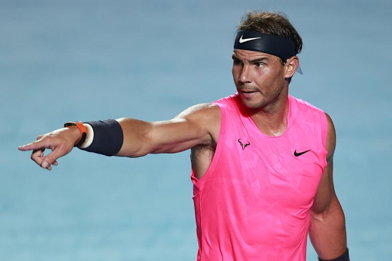Rafael Nadal of Spain gestures during the singles match against Taylor Fritz of the United States