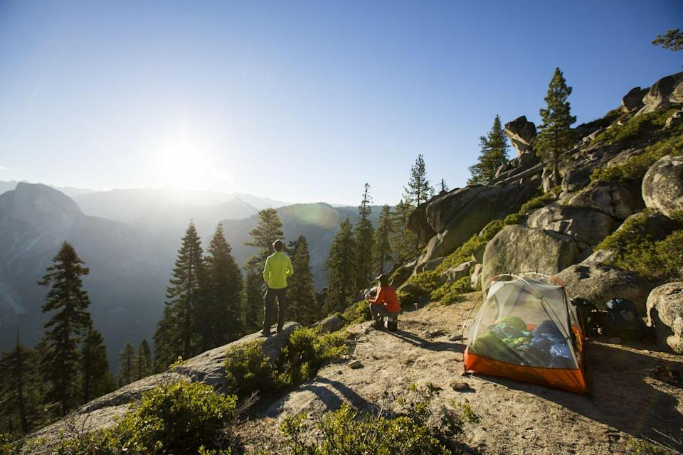 """<p>A list of beautiful campsites wouldn't be complete without mentioning <a href=""""https://www.nps.gov/yose/index.htm"""" rel=""""nofollow noopener"""" target=""""_blank"""" data-ylk=""""slk:Yosemite National Park"""" class=""""link rapid-noclick-resp"""">Yosemite National Park</a>. Located in California's Sierra Nevada mountains, Yosemite is known for the ancient sequoia trees. There's also Tunnel View, which is a look at Bridalveil Fall and the granite cliffs of El Capitan and Half Dome. This is American wilderness at its best, and it's a popular campsite that never feels too secluded. </p>"""