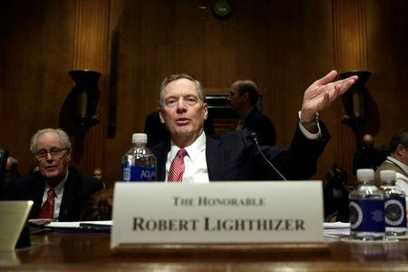Robert Lighthizer gestures before a Senate Finance Committee confirmation hearing