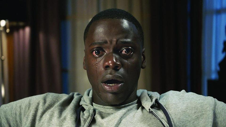 """<p>Jordan Peele's masterpiece, which uses white exploitation of Black people as a vehicle for supernatural horror, is an absolute must-see. You'll be thinking about this one long after you turn the lights out. </p><p><a class=""""link rapid-noclick-resp"""" href=""""https://www.amazon.com/Get-Out-Daniel-Kaluuya/dp/B06Y1H48K7/ref=sr_1_2?crid=2JCAAKIGDO2EE&dchild=1&keywords=get+out+jordan+peele+movie&qid=1594903787&sprefix=get+out+jo%2Caps%2C158&sr=8-2&tag=syn-yahoo-20&ascsubtag=%5Bartid%7C10055.g.29579568%5Bsrc%7Cyahoo-us"""" rel=""""nofollow noopener"""" target=""""_blank"""" data-ylk=""""slk:WATCH NOW"""">WATCH NOW</a></p>"""