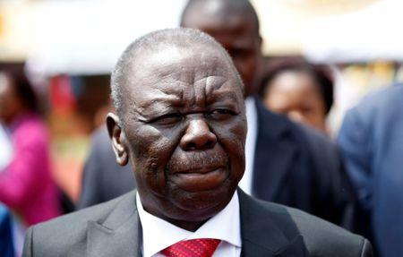 FILE PHOTO - Morgan Tsvangirai, leader of the opposition party Movement for Democratic Change (MDC) arrives ahead of the swearing in of Zimbabwe's new president Emmerson Mnangagwa in Harare, Zimbabwe, November 24, 2017. REUTERS/Siphiwe Sibeko
