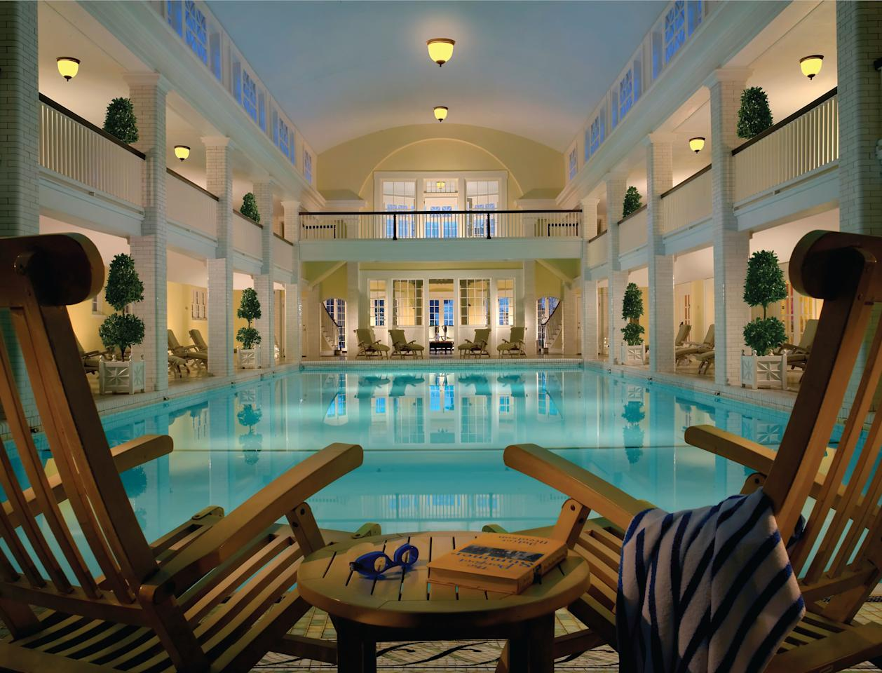 """The town boasts eight natural springs on former Native American healing grounds, once venerated for their restorative properties. These springs feed the spa at the <a rel=""""nofollow"""" href=""""https://www.omnihotels.com/hotels/bedford-springs/spa/details"""">Omni Bedford Springs</a>, where guests can enjoy the centuries-old healing practice of """"taking the waters"""" during a Bedford Bath Ritual, which uses water from the restorative springs and also features a steam and cold plunge. <em>Rates from $250.</em>"""