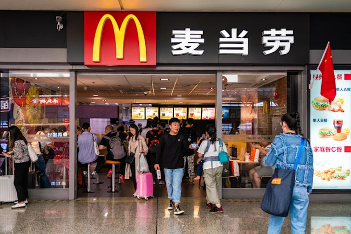 Customers visit an American fast food company McDonald's restaurant in Shanghai Hongqiao Railway Station. (Photo by Alex Tai/SOPA Images/LightRocket via Getty Images)