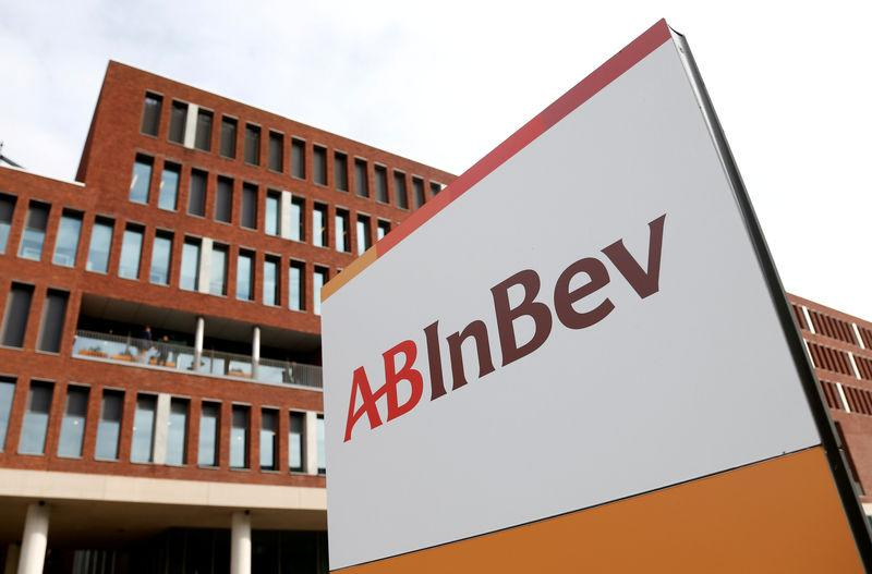 FILE PHOTO: View of the Anheuser-Busch InBev logo outside the brewer's headquarters in Leuven