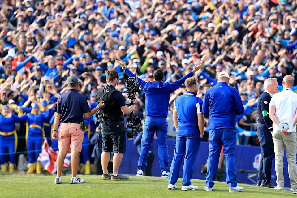 Team Europe's Rory McIlroy celebrates during the Singles match on day three of the Ryder Cup at Le Golf National, Saint-Quentin-en-Yvelines, Paris.