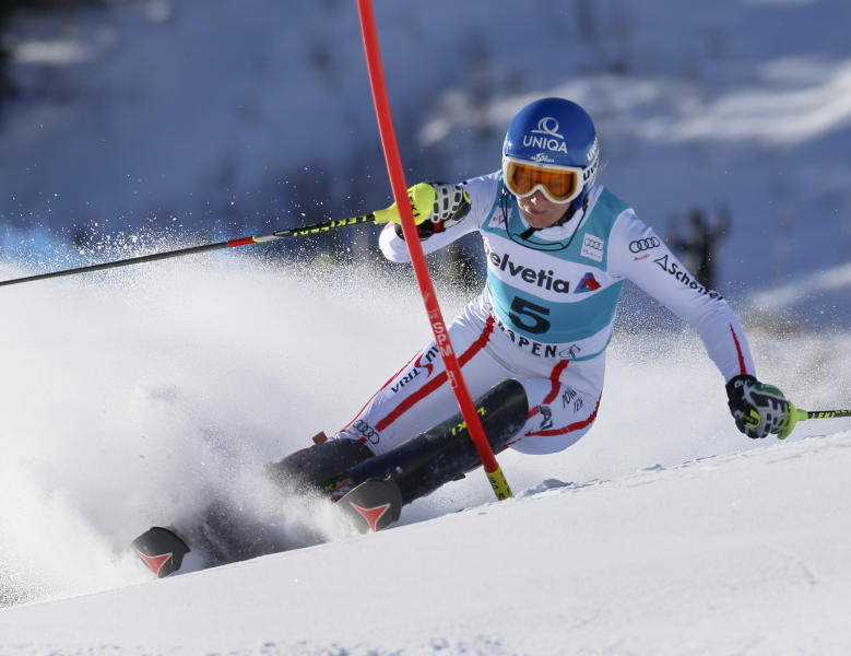 Austria's Marlies Schild speeds down the course during the women's World Cup slalom ski race in Aspen, Colo., on Sunday, Nov. 25, 2012. (AP Photo/Nathan Bilow)