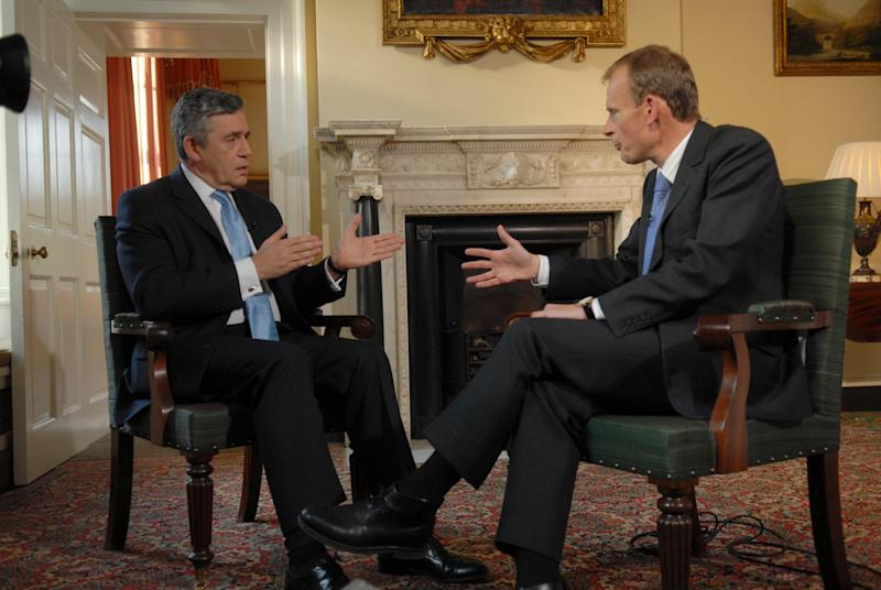"""FILE - Then British Prime Minister Gordon Brown, left,  talks with Andrew Marr of the BBC at 10 Downing Street in this Saturday Oct. 6, 2007 file photo. The BBC said Wednesday Jan 9 2013 that  Marr has suffered a stroke and is recovering in a hospital.  Marr hosts a popular eponymous Sunday morning show frequented by top British politicians and commentators, in addition to a Monday radio show called """"Start the Week.""""  (AP Photo / Jeff Overs, File Pool)"""