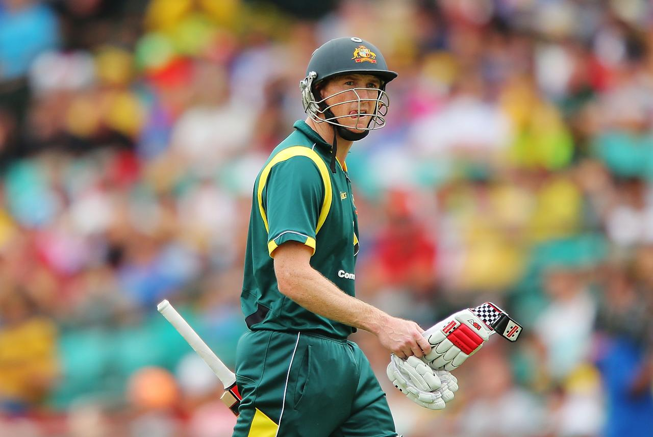 SYDNEY, AUSTRALIA - JANUARY 20:  George Bailey of Australia walks back to the dressing rooms after being dismissed by Rangana Herath of Sri Lanka during game four of the Commonwealth Bank one day international series between Australia and Sri Lanka at Sydney Cricket Ground on January 20, 2013 in Sydney, Australia.  (Photo by Brendon Thorne/Getty Images)