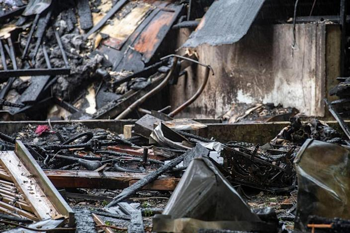 The remains of the duplex that exploded in the 7500 block of Englewood Avenue, as seen Tuesday, June 29, 2021 in Raytown.