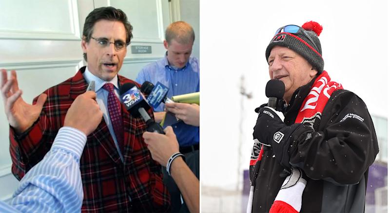 The argument between Jim Little (left), the former CEO of the Ottawa Senators, and Eugene Melnyk (right), the team's owner, apparently caused quite the commotion in the office. (Associated Press and Getty Images)
