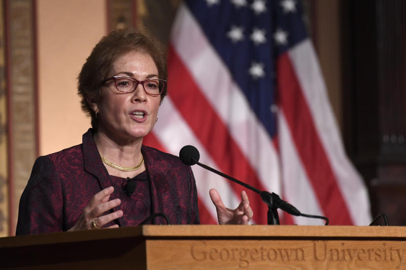 """Former Ambassador to Ukraine Marie Yovanovitch speaks at Georgetown University in Washington, Wednesday, Feb. 12, 2020. She was awarded the 2020 J. Raymond """"Jit"""" Trainor Award for Excellence in the Conduct of Diplomacy. (AP Photo/Susan Walsh)"""