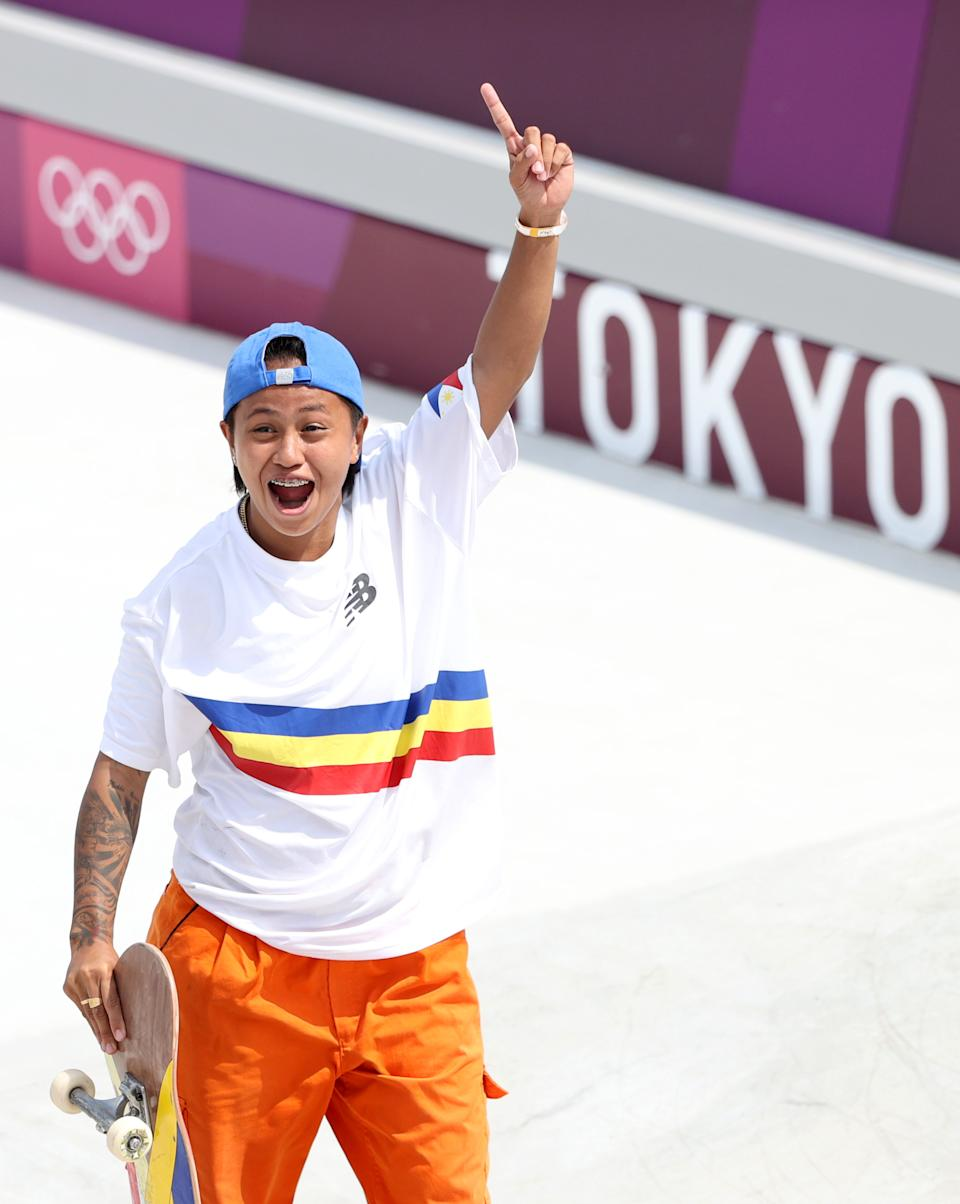 TOKYO, JAPAN - JULY 26:  Margielyn Didal of Team Philippines celebrates while competing during the Women's Street Prelims Heat 2 on day three of the Tokyo 2020 Olympic Games at Ariake Urban Sports Park on July 26, 2021 in Tokyo, Japan. (Photo by Ezra Shaw/Getty Images)