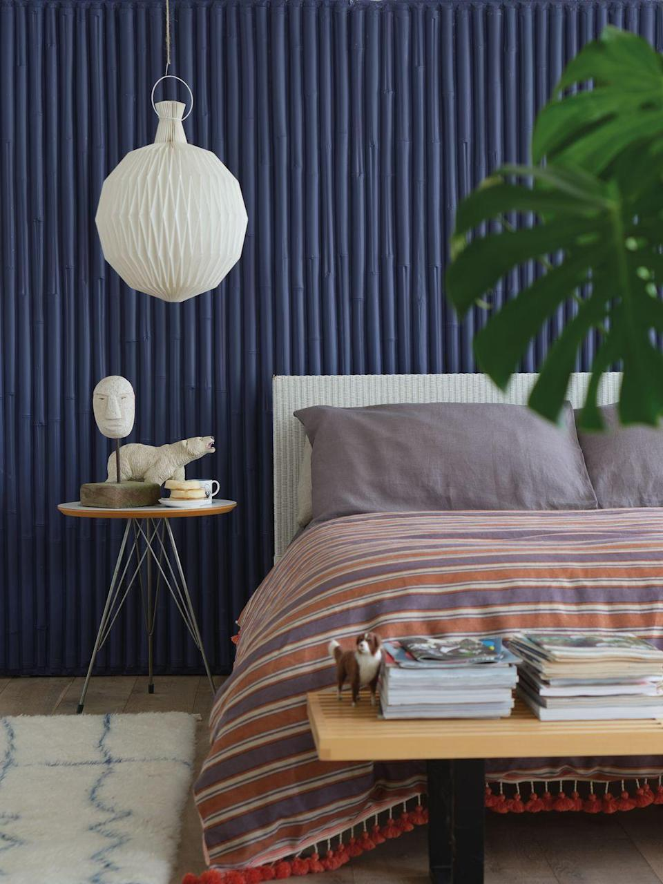"<p><strong>An easy way to create an Instagrammable bedroom is by adding a touch of paint to your room. A standout colour, such as dark navy, olive green or burnt red, will ooze character and style. </strong></p><p>A great way to make a statement is to opt for energetic colours. Whether you choose <a href=""https://www.housebeautiful.com/uk/decorate/looks/g26354209/pantone-colour-autumn-winter/"" rel=""nofollow noopener"" target=""_blank"" data-ylk=""slk:Pantone"" class=""link rapid-noclick-resp"">Pantone</a>-approved hues or <a href=""https://www.housebeautiful.com/uk/decorate/a25747701/farrow-and-ball-colours-2019/"" rel=""nofollow noopener"" target=""_blank"" data-ylk=""slk:Farrow & Ball"" class=""link rapid-noclick-resp"">Farrow & Ball</a>'s top wall colours of the year, you can be certain to have an Instagram grid interior enthusiasts will lust over. </p><p>'Deep Imperial Purple, for example, transforms intimate spaces such as bedrooms, creating a luxurious look and enveloping feel,' Charlotte Crosby, Head of Creative at Farrow & Ball, explains. 'Used in smaller quantities, such as inside a window recess, it can add a rich pocket of colour to even the most neutral of rooms. </p><p>'Don't be afraid by the size of a room. A deep colour such as Ultra Marine Blue will distract the eye from the size and create the perfect backdrop for all bedroom accessories.'</p>"