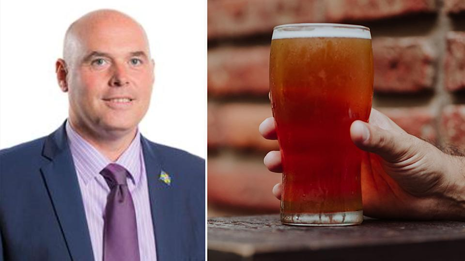 Paul Davis, left, and a stock image of a beer.