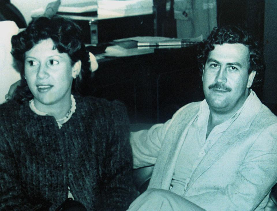 FILE PHOTO AUG83 - Colombian drug lord Pablo Escobar and his wife Victoria Henao appear in this file photograph when Escobar was a member of the Colombian Congress in 1983. The late cocaine kingpin's wife and her son Juan Pablo Escobar were detained in Buenos Aires late Monday on charges of laundering drug money and falsifying documents. B/W ON LY (COLOMBIA OUT).  CLP/ZDC