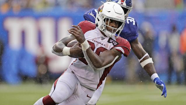 Arizona Cardinals' Chase Edmonds runs the ball during the second half of an NFL football game against the New York Giants, Sunday, Oct. 20, 2019, in East Rutherford, N.J. (AP Photo/Adam Hunger)