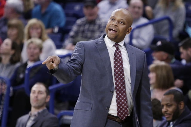 IUPUI head coach Jason Gardner directs his team during the first half of an NCAA college basketball game against Gonzaga in Spokane, Wash., Monday, Dec. 18, 2017. (AP Photo/Young Kwak)