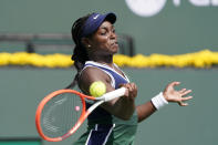Sloane Stephens, of the United States, returns to Heather Watson, of Britain, at the BNP Paribas Open tennis tournament Wednesday, Oct. 6, 2021, in Indian Wells, Calif. (AP Photo/Mark J. Terrill)