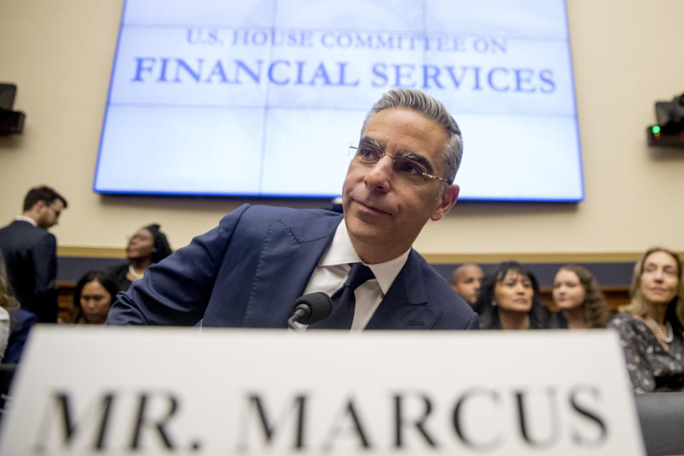 David Marcus, CEO of Facebook's Calibra digital wallet service, arrives for a House Financial Services Committee hearing on Facebook's proposed cryptocurrency on Capitol Hill in Washington, Wednesday, July 17, 2019. (AP Photo/Andrew Harnik)