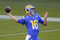 Los Angeles Rams quarterback Jared Goff (16) passes against the San Francisco 49ers during the first half of an NFL football game in Santa Clara, Calif., Sunday, Oct. 18, 2020. (AP Photo/Tony Avelar)