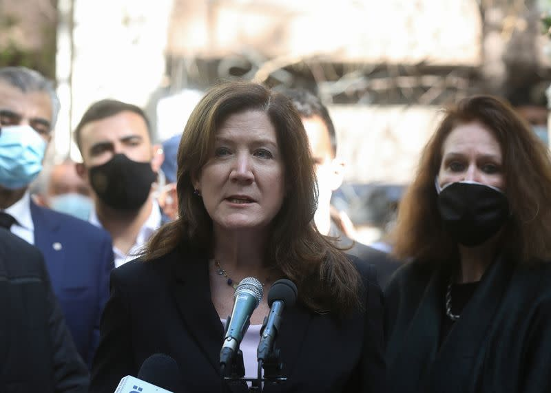 U.S. Ambassador to Lebanon Dorothy Shea speaks during a gathering to pay tribute for lokman Slim, a Shi'ite publisher and activist who was found dead in his car last week, in Beirut