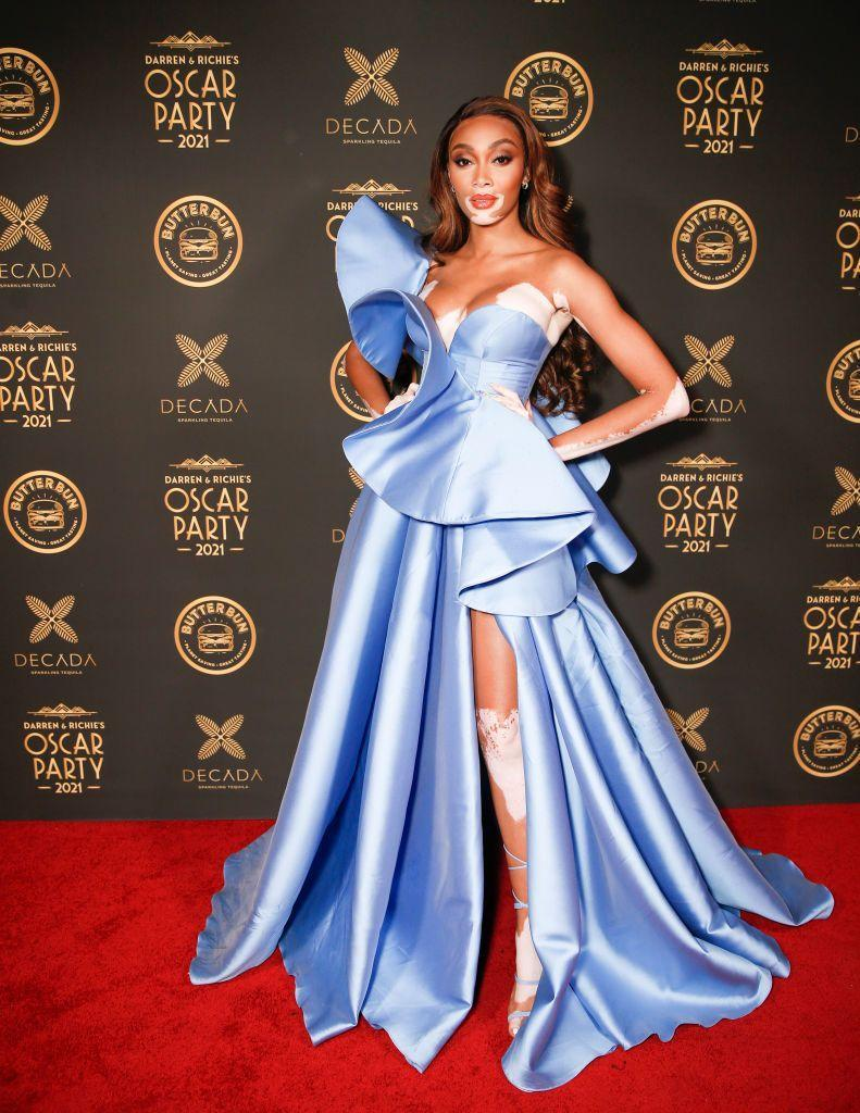 <p>The model wore a cool blue Georges Hobeika Couture gown to celebrate the 2021 Oscars.</p>