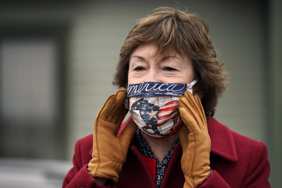 Republican Sen. Susan Collins speaks to workers at Reed and Reed, a contracting company, while campaigning Friday, Oct. 30, 2020, in Woolwich, Maine. Collins is seeking re-election against Democratic challenger Sara Gideon, the speaker of the Maine House. (AP Photo/Robert F. Bukaty)