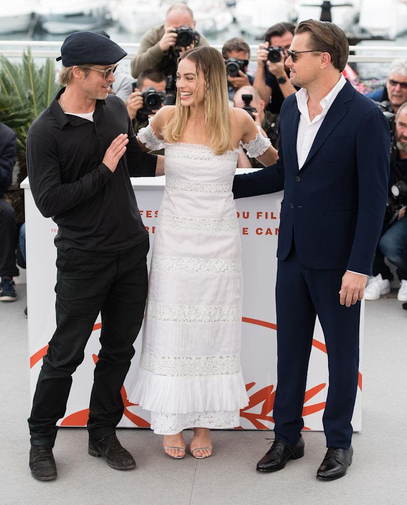 """Brad Pitt, Margot Robbie and Leonardo DiCaprio attend thephotocall for """"Once Upon A Time In Hollywood"""" at Cannes Film Festival"""