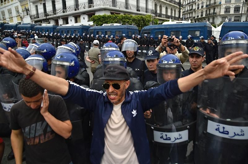Algerian security forces stand guard behind protesters in the capital Algiers on Friday (AFP Photo/RYAD KRAMDI                        )