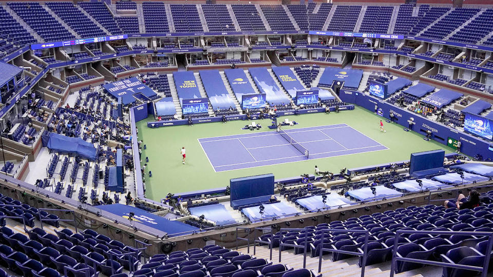 Alexander Zverev and Dominic Thiem, pictured here playing the 2020 US Open final behind closed doors.