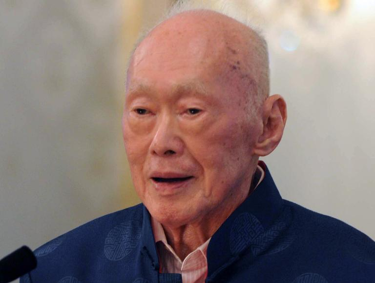 Singapore's first prime minister Lee Kuan Yew, pictured here on August 6, 2013, one of the towering figures of post-colonial Asian politics, died in hospital on March 23, 2014