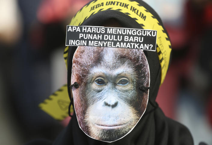 """A protester wears an orangutan mask with writings that read """"Are you going to wait for me to become extinct to save me?"""" during a climate change rally in Jakarta, Indonesia Friday, Sept. 20, 2019. Hundreds of protestors gathered in response to a day of worldwide demonstrations calling for action to guard against climate change. (Photo: Achmad Ibrahim/AP)"""