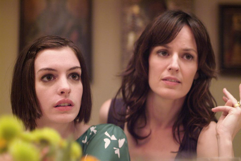 """<a href=""""http://movies.yahoo.com/movie/contributor/1804705919"""">Anne Hathaway</a> and <a href=""""http://movies.yahoo.com/movie/contributor/1809160790"""">Rosemarie DeWitt</a> in Sony Pictures Classics' <a href=""""http://movies.yahoo.com/movie/1809961213/info"""">Rachel Getting Married</a> - 2008"""