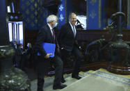 In this photo released by the Russian Foreign Ministry Press Service, Russian Foreign Minister Sergey Lavrov, right, and High Representative of the EU for Foreign Affairs and Security Policy, Josep Borrell walk during their meeting in Moscow, Russia, Friday, Feb. 5, 2021. (Russian Foreign Ministry Press Service via AP)
