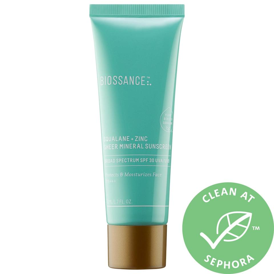 """<p>""""Finding a face sunscreen that doesn't pill under my makeup has been like finding that one shiny needle in a grassy, abundant haystack - most formulas just don't play well with my foundation. So, when I applied the <a href=""""https://www.popsugar.com/buy/Biossance-Squalane-Zinc-Sheer-Mineral-Sunscreen-SPF-30-585461?p_name=Biossance%20Squalane%20%2B%20Zinc%20Sheer%20Mineral%20Sunscreen%20SPF%2030&retailer=sephora.com&pid=585461&price=30&evar1=bella%3Aus&evar9=47580543&evar98=https%3A%2F%2Fwww.popsugar.com%2Fbeauty%2Fphoto-gallery%2F47580543%2Fimage%2F47581036%2FBiossance-Squalane-Zinc-Sheer-Mineral-Sunscreen-SPF-30&list1=beauty%20products%2Csunscreen%2Ceditors%20pick%2Csummer%2Cskin%20care&prop13=mobile&pdata=1"""" class=""""link rapid-noclick-resp"""" rel=""""nofollow noopener"""" target=""""_blank"""" data-ylk=""""slk:Biossance Squalane + Zinc Sheer Mineral Sunscreen SPF 30"""">Biossance Squalane + Zinc Sheer Mineral Sunscreen SPF 30</a> ($30) for the first time and noticed that it didn't pill in the slightest, I knew I'd struck gold. This ultralightweight formula is creamy, sheer, and has a combination of squalane and water lily to lock in hydration and soothe the skin. My favorite part is that it literally melts into my complexion with little rubbing required and gives me a buoyant, supple surface to slide on my primer and foundation. Is this the proverbial needle in the haystack when it comes to nonpilling sunscreen? I would absolutely say so."""" - Alanna Martine Kilkeary, associate beauty editor, Makeup.com</p>"""