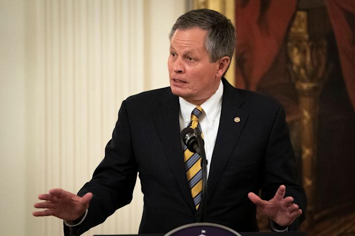 Sen. Steve Daines (R-Mont.) speaks during a signing ceremony for the Great American Outdoors Act. (Photo: Drew Angerer via Getty Images)